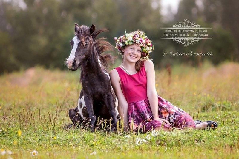 Лето в Идальго-Машенька и ее любимица,мини лошадка Катажена.