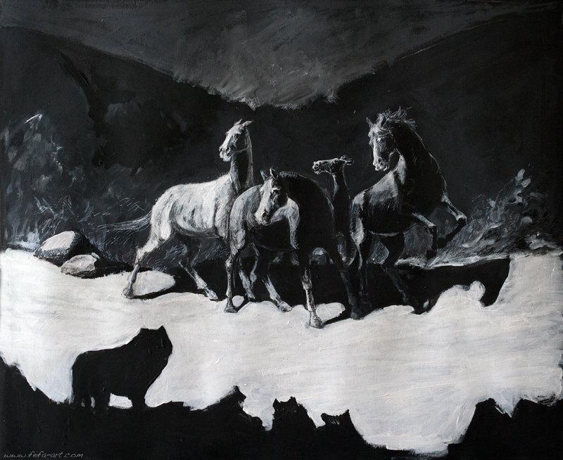 материалы: чёрный картон, чёрный и белый акрил, чёрная и белая тушь. размер 55х45см  фото фрагментов тут: http://fefa-koroleva.livejournal.com/378730.html#cutid1