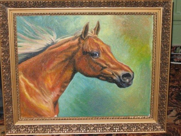Картина написанная маслом. Арабская кобыла по кличке Бризет.  Кстати, картина продается