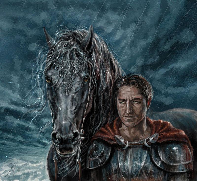 Серебряногривый конь с фотки Fotart, а лыцарь сам по себе.