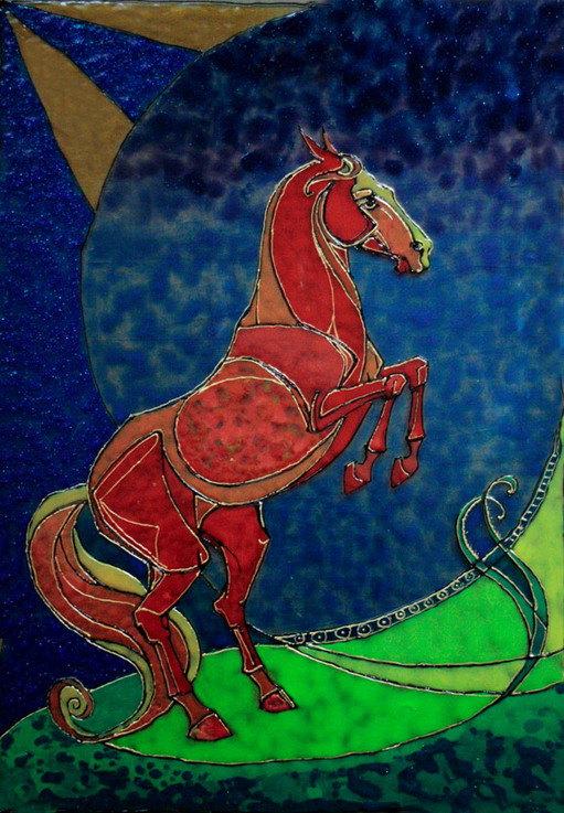 оконное стекло 65-44см, витражные краски Nerchau , акриловые контуры Decola