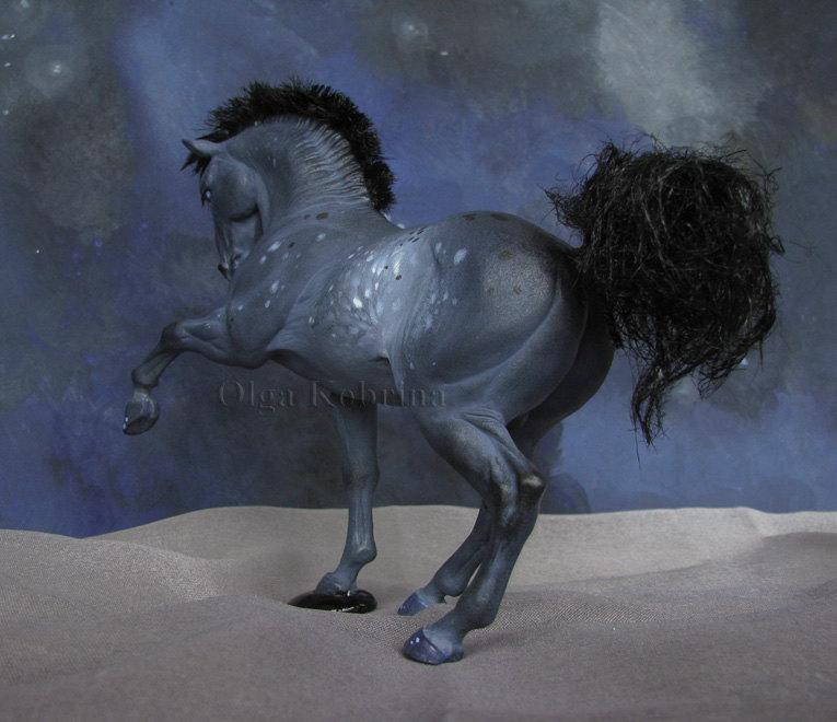 Моя скульптура на заказ. Высота ок 10 см в холке, пластик Сонет, темпера, лаки, иск. шерсть.