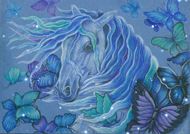 А4, синяя бумага для пастели, цветные карандаши