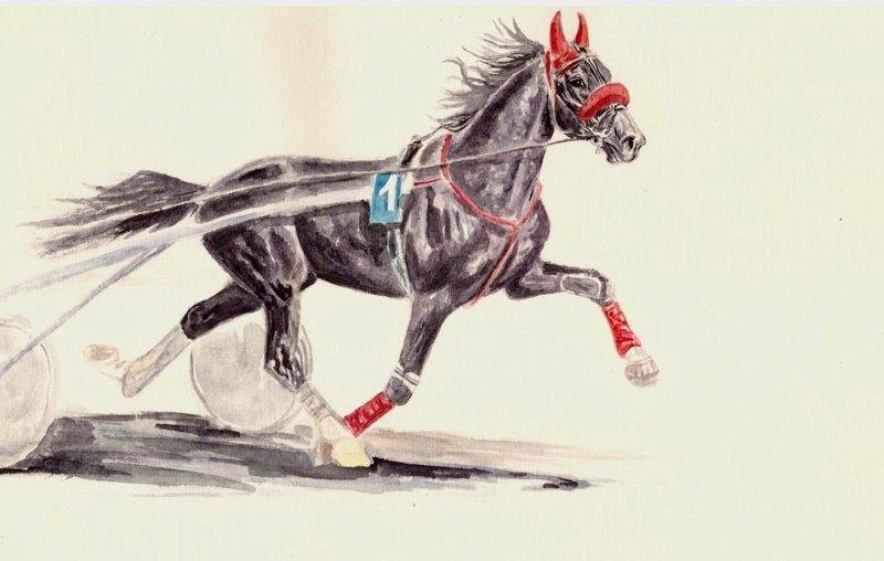 от Кунака и Кармен, серия Орловские лошади, акварель а-4