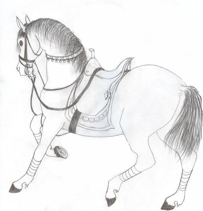 Картинки лошади с человеком для срисовки
