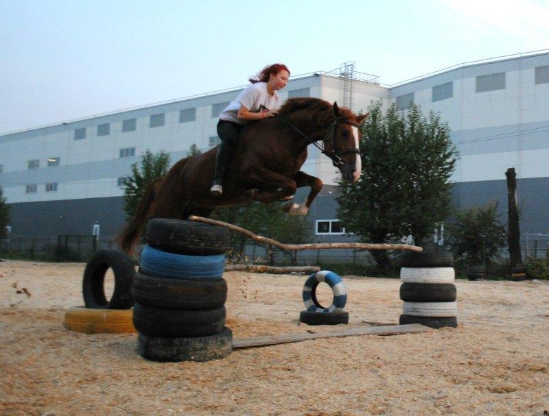 Первый раз прыгала без седла высоту больше 2 шинок)))