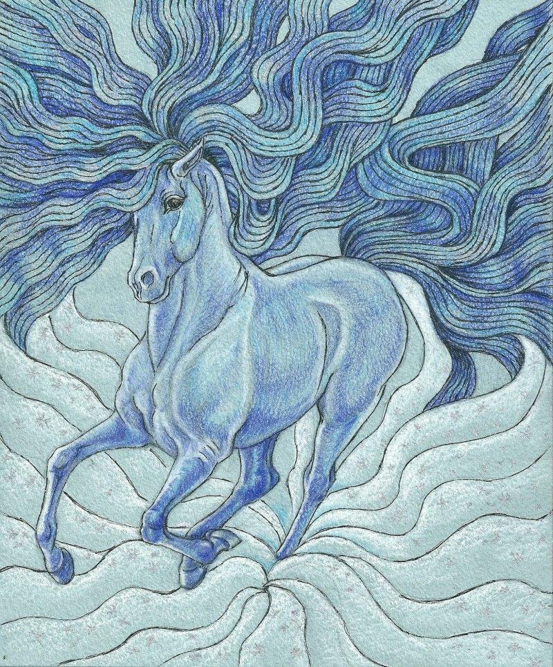 мчится! А4, голубая бумага, цветные карандаши, черная и серебряная гелевые ручки