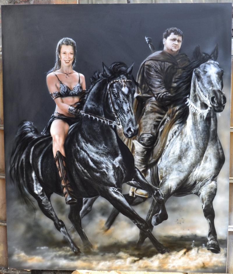 Парный портрет, люди реальные, а вот лошади, я думаю все узнали ))серая с фото В .Квятковского, а вороной принадлежит Dimitar Hristov