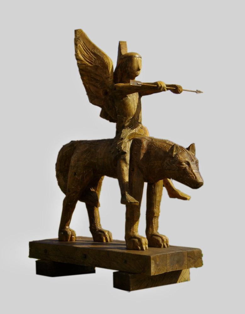 скульптура,дерево 210см.Скульптор Карлыханов Н.А.