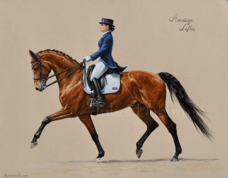 Пастель,  бумага,  35*45 Анастасия Лефлер на коне Салют Монамур