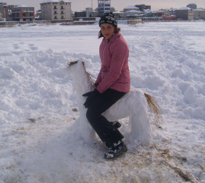 С серьезным видом сижу на снег-лошадке