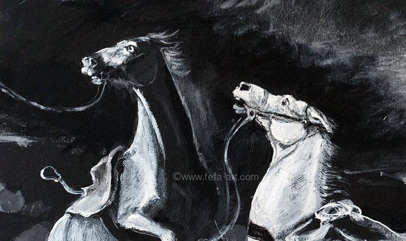 В память лошадей, принимавших участие в Бородинской битве. Материалы: картон, акрил, тушь. Размер 54х43,5см