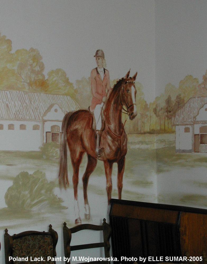 Конезавод Stado Owierow w Lacku (Польша). Стена в административном здании (конференцзал), расписанная женой директора конезавода пани Марией Войнаровской.