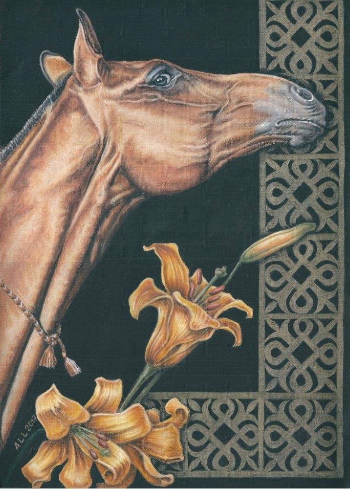 А3/ бумага для пастели, тиснение холст/ акварельные и цветные карандаши/ золотой карандаш с эффектом металлик/ акрил / лошадь по фото Olga Vaivoda/