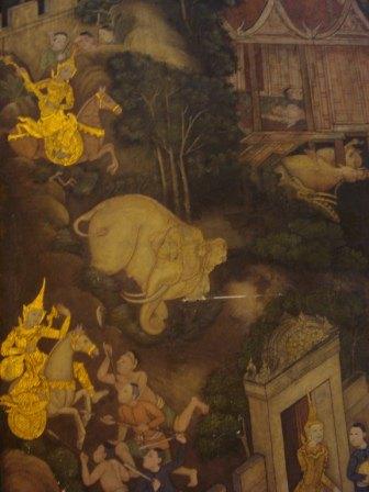 Фреска со слонами и лошадьми в храме лежащего Будды в Бангкоке