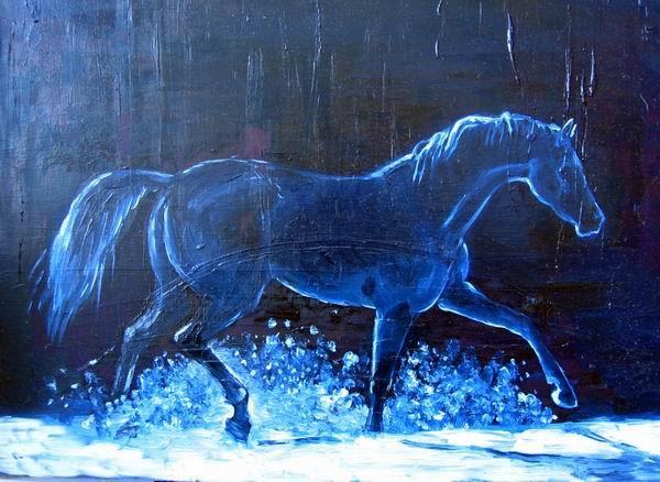 Поясняю: полоски из-за того, что лошадь нарисована куске толстой-притолстой картонки (не знаю как называется), на котором уже было что-то там нарисовано толстым слоем... Холста не было... тренируюсь на чем попало...  Цвета какие-то тоже странные при фотог