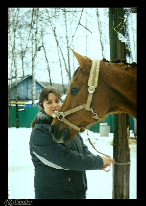 Январь 2008, КСК Мустанг, конь принадлежит ЧВ,фото с плёночного Beroquick