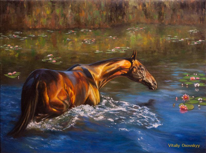 """""""Купание золотистого коня"""", холст, масло, 80х60см, по фото А. Бабоева"""