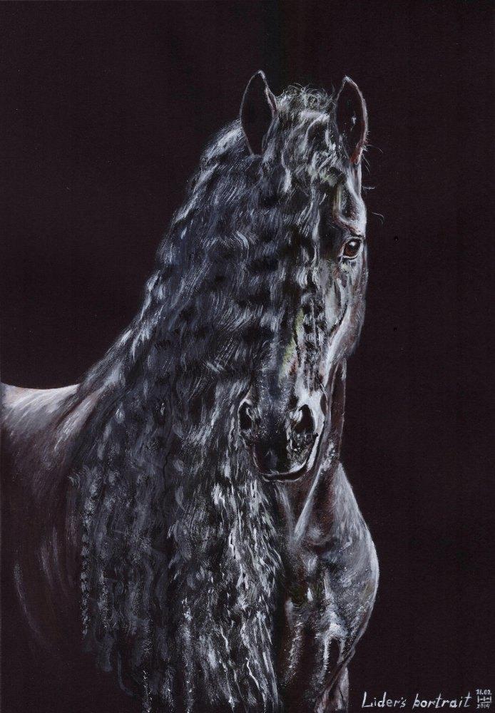"""Lider's portrait"" по фото Katarzyna Okrzesik. Чёрный картон, акрил. Формат А4."