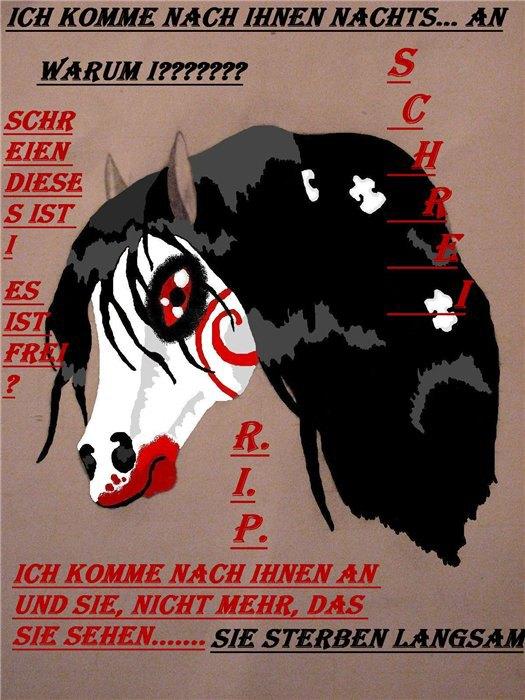 Это лошадка,ну,типа мой персанаж её зовут Крик,да знаю немного мрачновато,но это по мативам фильмя ужасав звонок)Нарисованно сначало на бумаге,а потом переделано через paint